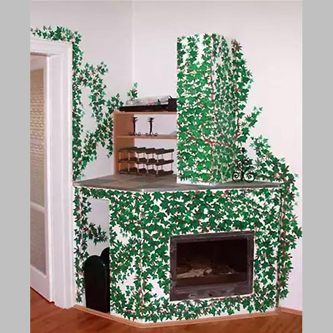 Ivy branches surrounded fireplace